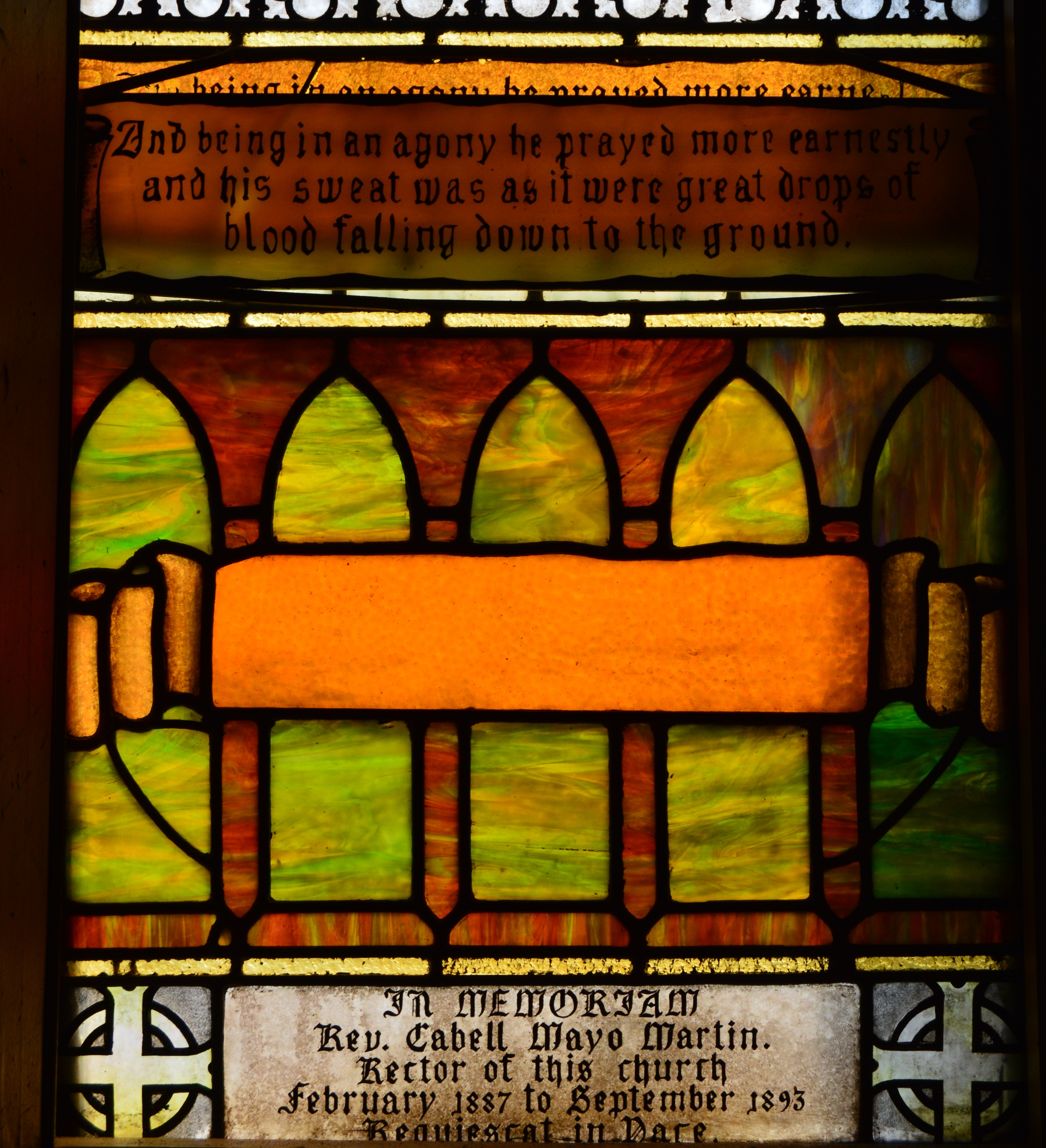Sanctuary Window Title and Memorial